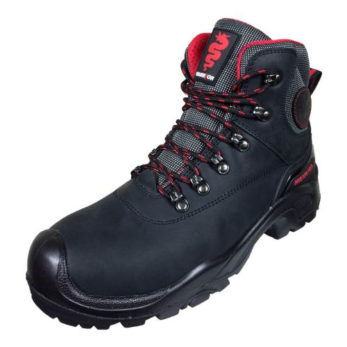 Warrior Black Waxy Leather Safety Hiker Boots